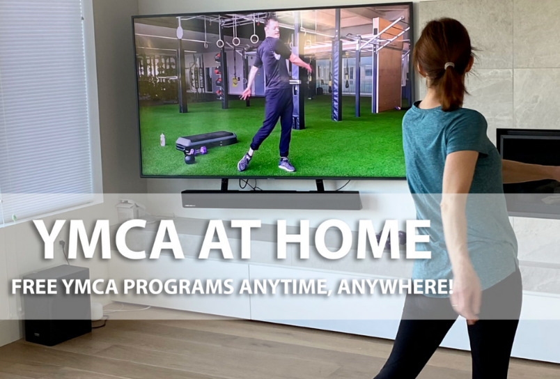 Image of woman working out in front of her tv